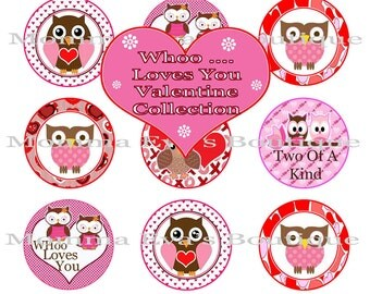 """Momma Eva's -- INSTANT /  """"WHoo"""" Loves You  Valentine's Collection / 4 x 6  / 1 in Circles /  Bottle Caps  Hair Bows / Shop SALE on IMAGES"""
