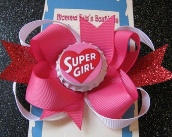 Momma Eva's -- Sparkling SUPER GIRL Layered Boutique Hair Bow // Medium 4.5 inch Style //  Ready To SHiP