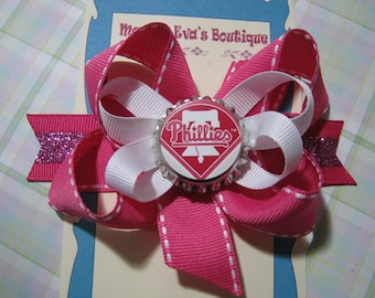 Momma Eva's --  Philadelphia Phillies Inspired Sparkling Pink  Layered Boutique Hair Bow Design // 4 inch Style // Ready To SHiP