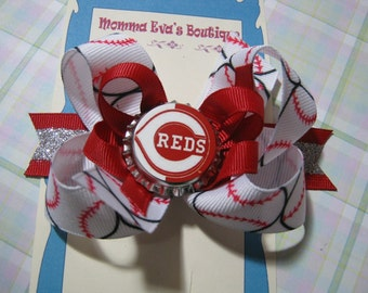 Momma Eva's -- Cincinnati Reds Inspired Super Fan Sparkling Layered Boutique Hair Bow Design // Medium 4 inch Style //  Ready To SHiP