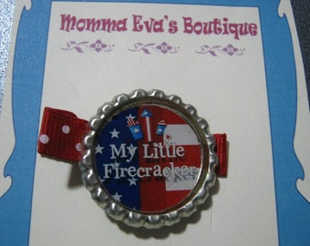 Momma Eva's --  My Little Firework Bottle Cap Hair Clippie // Red White And Blue Fireworks Design  // Ready To Ship