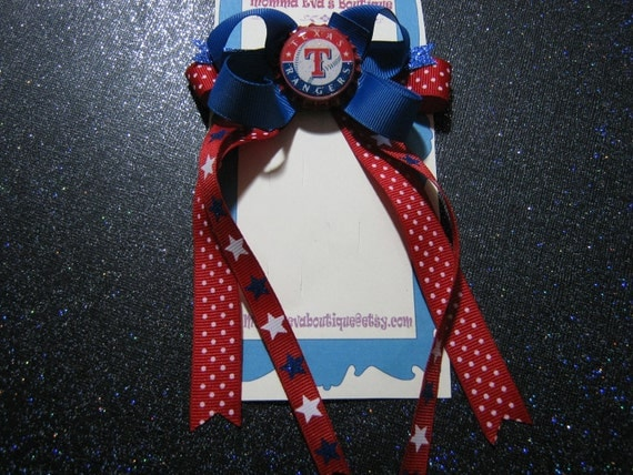 Momma Eva's --  ((  NEW  ))  Streaming Hair Bows .......  Texas Rangers Inspired Boutique Streaming Hair Bow // Layered Design