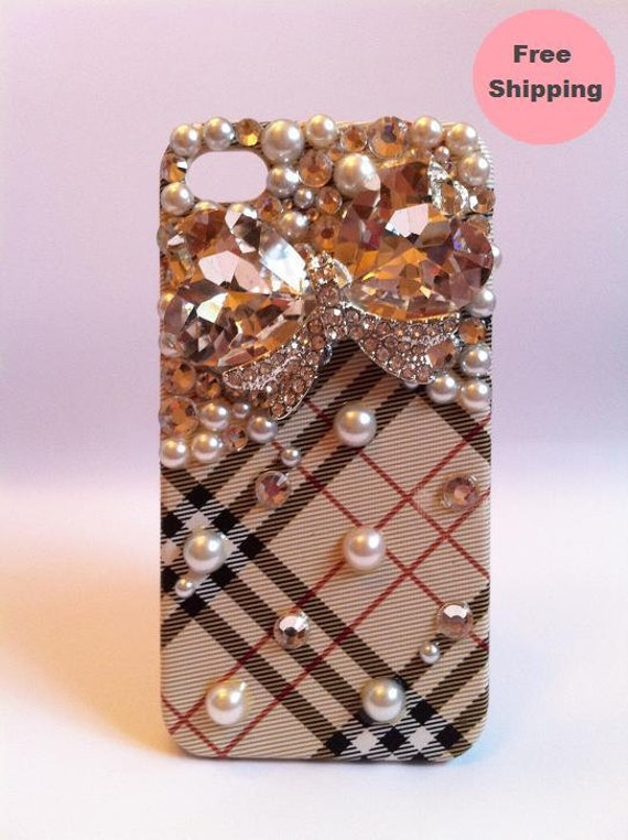Bling Rhinestone Crystal Pearls Phone Case w/ Jewel Bow for iPhone 4/ 4S