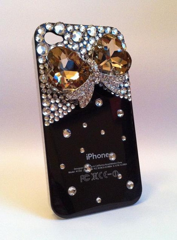 Bling Rhinestone Crystallized Black Phone Case Jewel Bow for iPhone 4/ 4S