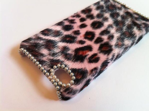 Leopard Furry Skin Pearls Phone Case iPhone 4G / PGP