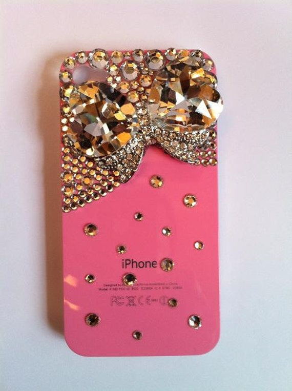 Bling Rhinestone Pink Phone Case Jewel Bow for iPhone 4/ 4S