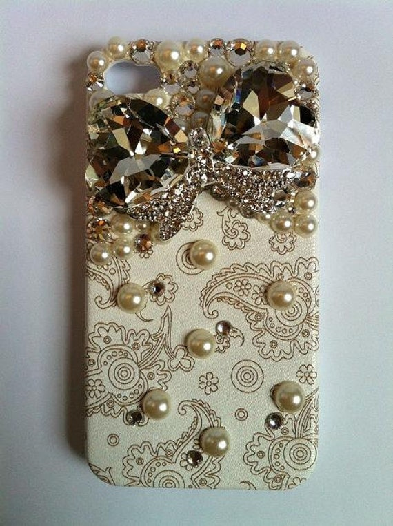 Bling Rhinestone Phone Case Jewel Bow iPhone 4/ 4S Retro Floral Paisley
