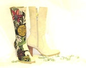 RESERVED FOR KEELY Boots hand painted, Women's Size 7 1/2