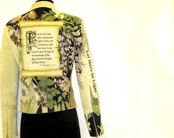 "Hand Painted Jacket - ""Carlisle"" Light Sage Green Suede"