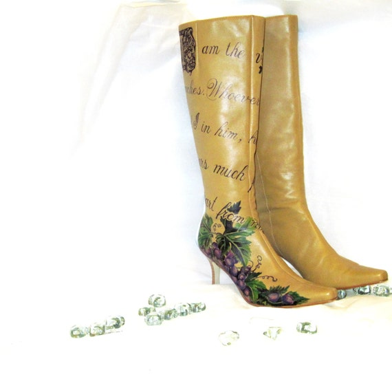 RESERVED FOR KEELY Boots Hand Painted, Women's Size 6 1/2