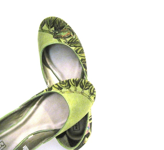 RESERVED FOR JAKZ Hand Painted Suede Ballerina Flats - size 8.5 Frogs