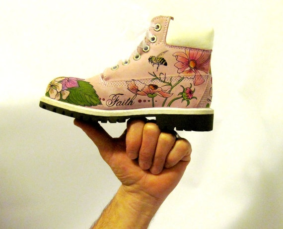 Kids boots hand painted Timberland faith hope love
