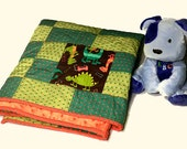 Baby Blanket Quilt, Boy Dinosaur Quilt, Blue, Green, Orange Quilt, Minky Quilt