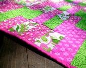 Handmade Baby Quilt Blanket, Girl Pink, Green, White Quilt