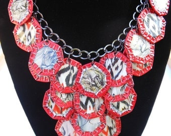 """OOAK - Green Motif - Upcycled Magazine Collage and Beer Cap Motif on Chain Necklace """"101 Pattern"""""""