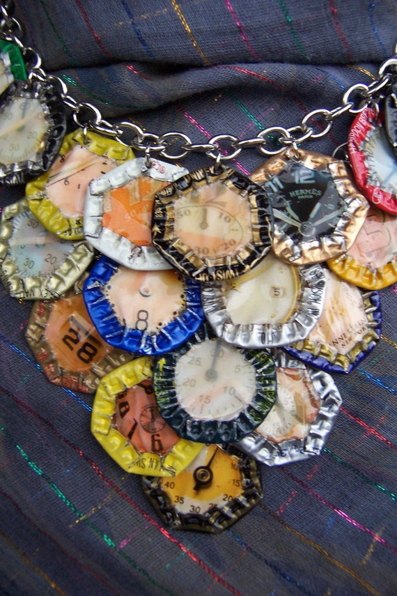 "OOAK -Green Motif-  Upcycled Magazine Collage and Beer Cap Motif on Chain Necklace ""Beer Time"""