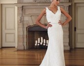 A-line/Princess V-neck Embroidered Lace Wedding Dress