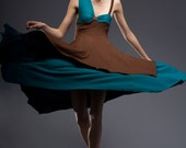 The JADED Dress in Teal, Brown, and Caramel-Sample Size S