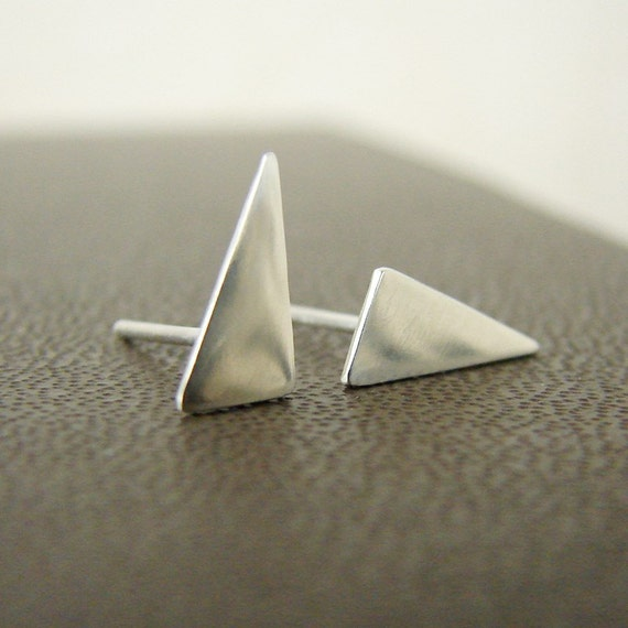 Silver triangle studs. Small sterling silver post earrings.
