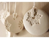 5 snowflake ornaments porcelain winter white & pearl.