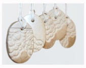 French lace ornaments - oval shaped - porcelain - set of 5