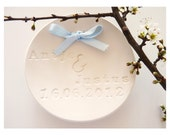 Wedding ring plate with names and dates - white porcelain