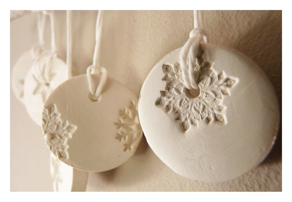 5 snowflake ornaments porcelain winter white & pearl.