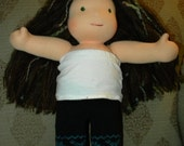 "Upcycled Blue Nordic Sewn Longies to fit a 15"" Waldorf Inspired Doll"