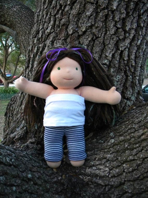 """Upcycled Shades of Purple and Grey leggings to fit a 15"""" Waldorf Style Doll"""