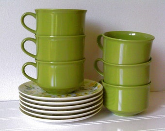 Coffee Cups with Saucers Mid Century Kitchen / cup and saucer / coffee set / coffee cup / avocado green / retro kitchen