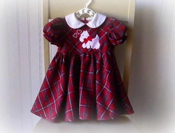 Girls dress /children's clothing / tartan plaid / hearts / puppy / day dress / hipster kid / hipster