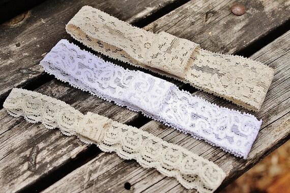 newborn headband, lace headbands, set of three, infant headbands, bridal headand, adult lace headband