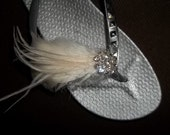 Ivory or White Feathered Bridal Shoe Clips - set of 2 - Sparkling Crystal Rhinestone Accents, french net