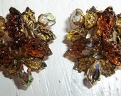 Vintage Shades of Topaz,  Fasceted Teardrop and Gold Shoe Clips - set of 2 - Bridal, Wedding, Special Occasion