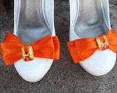 Bridal Shoe Clips -New 2012 Color Tangerine Tango - set of 2