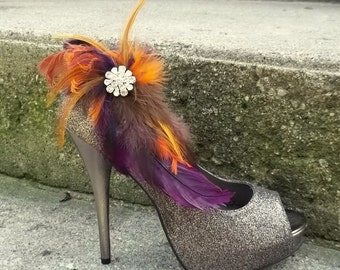 Wedding Bridal Shoe Clips - Deep Purple Brown Tan Burnt Orange Autum Wedding, Fall, feather shoe clips, wedding shoe clips