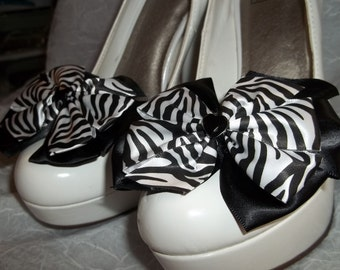 Shoe Clips Zebra Black White Satin Bows Shoe Clips - set of 2 - Bridal Wedding Special Occasion Photo Shoots