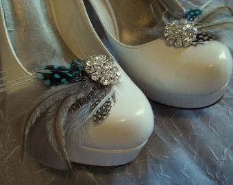 Bridal Shoe Clips, Feather Shoe CLips,  Gray Shoe Clips, Turquoise, Wedding Shoe Clips, Clips for Wedding Shoes, ShoeClipsOnly Designer
