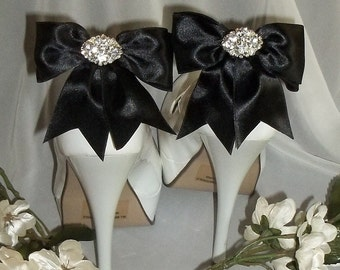 Bridal Shoe Clips Satin Shoe Clips, Rhinestone Shoe Clips Double Bows with sparkling rhinestones, Bridal Shoe Clips