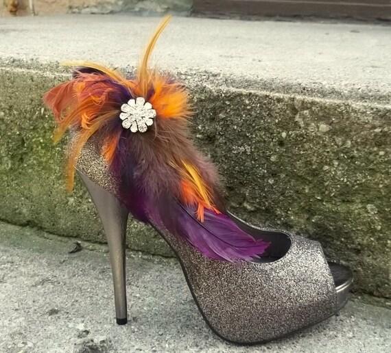 Wedding Bridal Shoe Clips - Deep Purple Brown Tan Burnt Orange Autum Wedding, Fall, feather shoe clips, wedding shoe clips