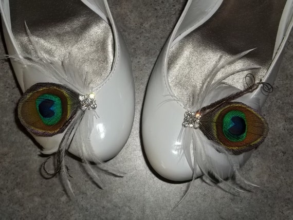 Beautiful Peacock Feathered Shoe Clips - set of 2 - Sparkling Crystal Rhinestone Accents