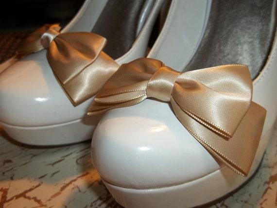 Bridal Shoe Clips - Double Satin Bows - set of 2 - satin shoe clips - wedding shoe clips MANY COLORS