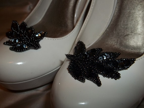 Bridal Shoe Clips - set of 2 - Gunmetal Black Leaf Shoe Clips, wedding shoe clips