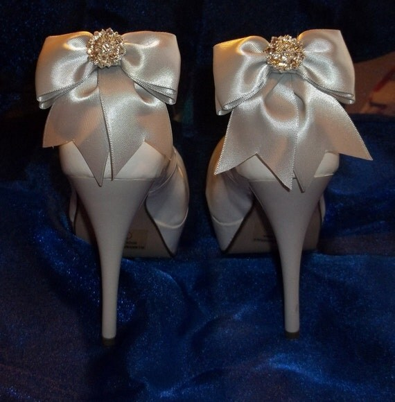 Satin Bow Shoe Clips - set of 2 - with sparkling rhinestones, Bridal Shoe Clips, Wedding Shoe Clips MANY COLORS