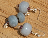 Earring and Pendant Set Glass Bead Gray Grey Sterling Silver Set Salvaged Glass Holiday Set Recycled Glass