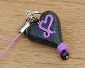 Black Heart Cell Charm Zipper Pull