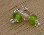 Dangle Earrings Green and Peach Spring Earrings
