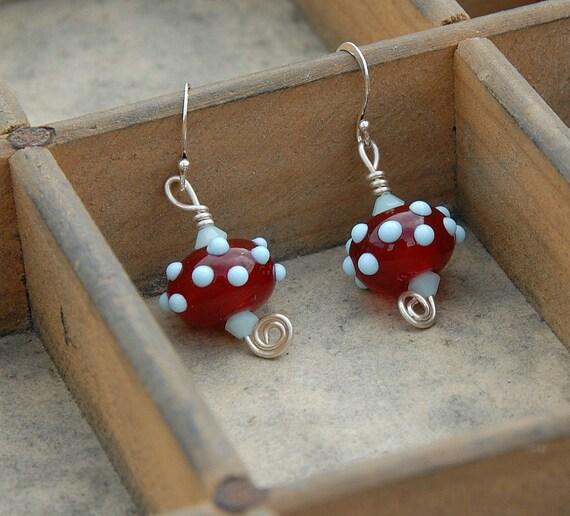 Retro Earrings Red Pale Blue Glass Earrings Polka Dot Rockabilly Earrings Glass Bead Earrings Lampwork Sterling Silver Red Earrings