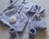 knitted 3 - piece bunny rabbit   set  baby / reborn . romper suit , hat, and booties