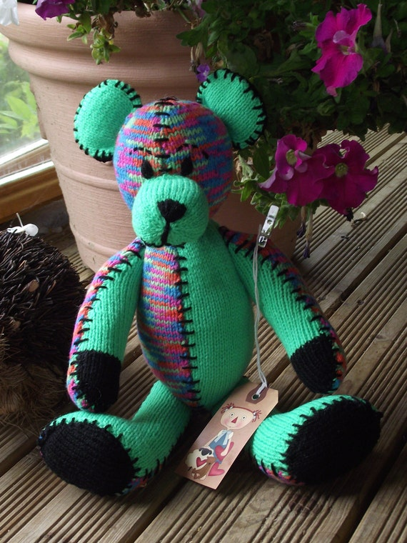 Hand Knitted Patchwork Teddy Bear / Lime Green  / brights